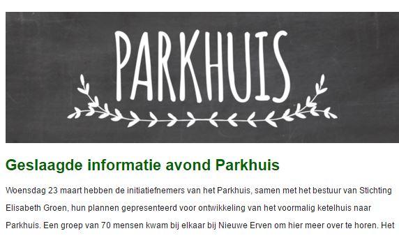 Initiatiefgroep Parkhuis stuurt eerste nieuwsbrief