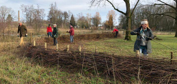 natuurvrijwilligers maken een takkenril