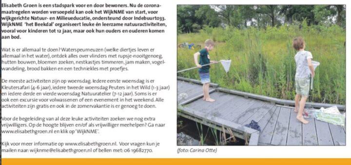 artikel over WijkNE in Stadsberichten Groene Pagina 10 juni 2020